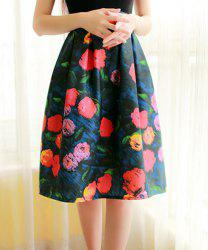Elegant High-Waisted Printed A-Line Women's Midi Skirt - COLORMIX