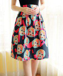 Ladylike High-Waisted Figures Print A-Line Women's Midi Skirt -