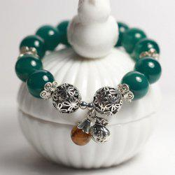 Vintage Flower Pattern Natural Stone Beads Bracelet -