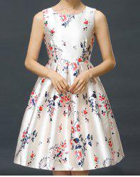 Vintage Scoop Neck Sleeveless Flower Print Bowknot Dress For Women