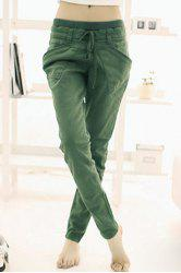 Women's Pure Color Pants Long Loose Small Leg Opening Trouser -