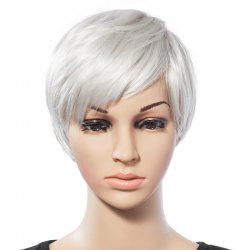 Fashionable Short White Trendy Side Bang Natural Glitter Straight Synthetic Wig For Women -