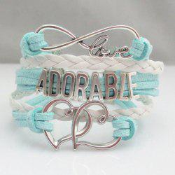 Letter Openwork Heart Weaved Layered Friendship Bracelet