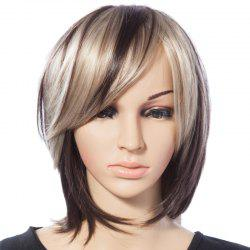 Fashionable Mixed Color Straight Synthetic Heat Resistant Tilt Women's Short Wig With Side Bang -