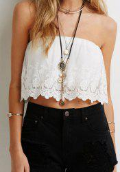 Stylish Strapless Sleeveless Crochet Flower Women's Tank Top -