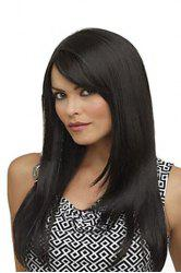 Fashion Side Bang Charming Long Natural Straight Black Heat Resistant Synthetic Capless Wig For Women - BLACK