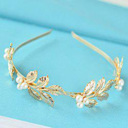 Chic Faux Pearl Leaf Shape Design Hairband -