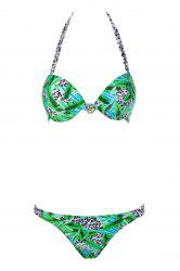 Sexy Halter Leopard Print Push-Up Women's Bikini Set - GREEN S