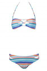 Sexy Strapless Striped Women's Bikini Set