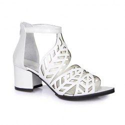 Stylish Zip and Hollow Out Design Women's Sandals - WHITE