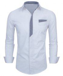 Personality Color Block Fly Slimming Turn-down Collar Long Sleeves Men's Shirt - WHITE