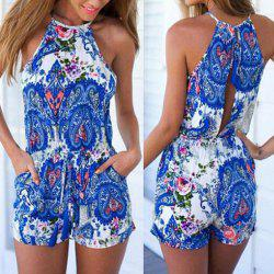 Sleeveless Cut Out Paisley Pants Romper - BLUE