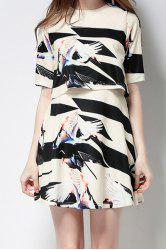 Round Neck Half Sleeve Printed Overlay Dress -