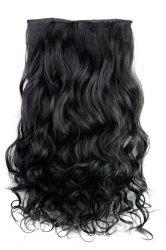 Fashion Jet Black Long Curly Clip-In Heat Resistant Synthetic Hair Extension For Women -