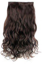 Fashion Dark Brown Long Curly Clip-In Heat Resistant Synthetic Hair Extension For Women -