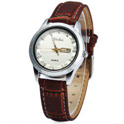 Yulan 2836L Female Quartz Watch Date Day Function Leather Strap -