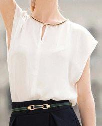 Elegant Round Neck Rhinestone Embellished Short Sleeve Blouse For Women -