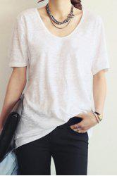 Casual Style V-Neck Short Sleeve Solid Color Loose-Fitting Women's T-Shirt -