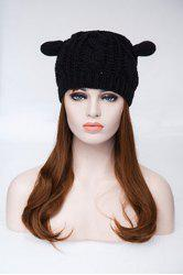 Knitted Hemp Flowers Cat Ears Acrylic Hat - BLACK