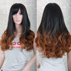 Trendy Full Bang Charming Long Wave Black to Light Brown Ombre Synthetic Capless Wig For Women