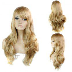 Trendy Side Bang Noble Long Big Wavy Blonde Brown Mixed Synthetic Capless Wig For Women