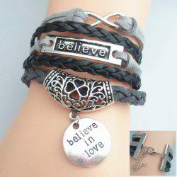 Letter Openwork Flower Pattern Weaved Layered Friendship Bracelet -