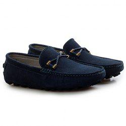 Trendy Suede and Metallic Design Men's Loafers - DEEP BLUE