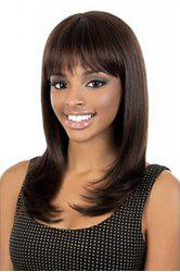 Fashionable Dark Brown Long Straight Synthetic Wig With Full Bang For Women