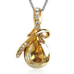 Sparking Waterdrop Rhinestoned Pendant Women's Necklace -