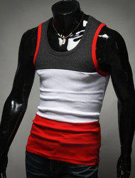 Fashion Color Block Slimming Round Neck Men's Tank Top -