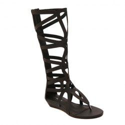 Zip Back High Strappy Gladiator Sandals