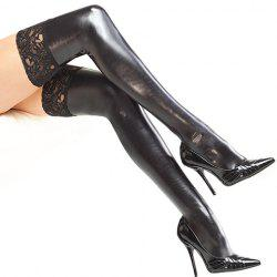 Pair of Chic Lace Edge Faux Leather Stockings For Women -
