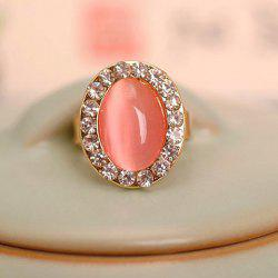 Faux Opal Rhinestone Decorated Oval Shape Ring - GOLDEN