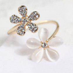 Faux Opal Rhinestone Embellished Flower Ring - GOLDEN