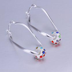 Pair of Ball Rhinesone Alloy Drop Earrings