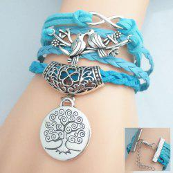 Birds Tree Pattern Weaved Friendship Bracelet - LAKE BLUE
