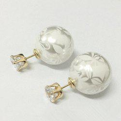 Pair of Chic Rhinestone Print Round Shape Design Earrings For Women -