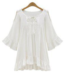 Scoop Neck Hollow Out Ruffle Peasant Blouse - WHITE