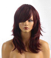 Layered Long Chestnut Straight Tilt Women's Synthetic Wig With Face Side Bang -