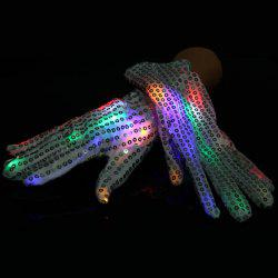 1 Pair Luminous Glove with Paillette Masquerade Props for Party Cosplay Decoration