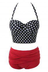 Sexy Polka Dot Halter High Waist Bikini Set -
