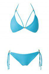 Sexy Halter Blue Lace-Up Women's Bikini Set