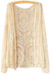 Sweet Style Collarless Leaves Pattern Lace Long Sleeve Coat For Women -