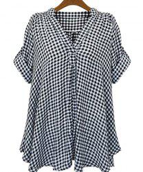 Casual Stand-Up Collar Short Sleeve Plaid Loose-Fitting Women's Blouse - WHITE AND BLACK