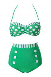 Fashionable Polka Dot Stripe Color Block Bikini Set For Women -