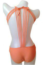 Fashionable Tie-Up Solid Color One-Piece Swimwear For Women -