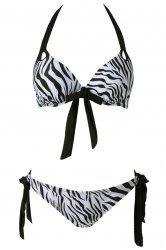 Sexy Halter Self-Tie Zebra Striped Print Women's Bikini Set