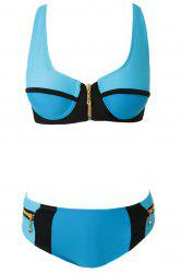 Fashionable Zippers Color Block Bikini Set For Women