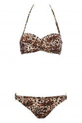 Sexy Leopard Pattern Strapless Push-Up Women's Bikini Set