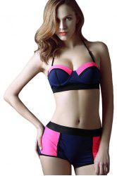 Fashionable Color Block High Waist Bikini Set For Women